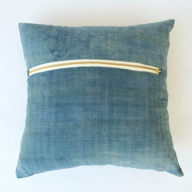 Hand Woven Light Blue-Indigo Hemp Pillow - Image 3 of 3