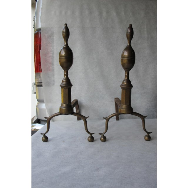Brass & Iron Lemon Top Andirons - A Pair - Image 5 of 11