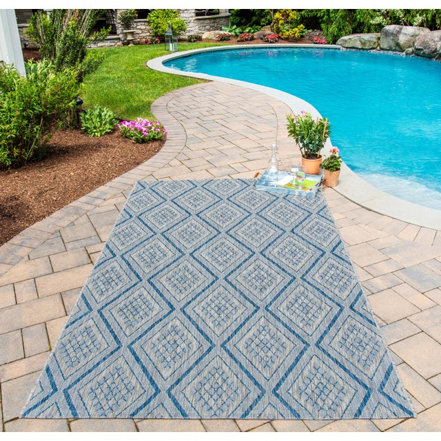 """Madcap Cottage Lake Palace Rajastan Weekend Blue Indoor/Outdoor Area Rug 5'3"""" X 7'6"""" For Sale In Atlanta - Image 6 of 7"""