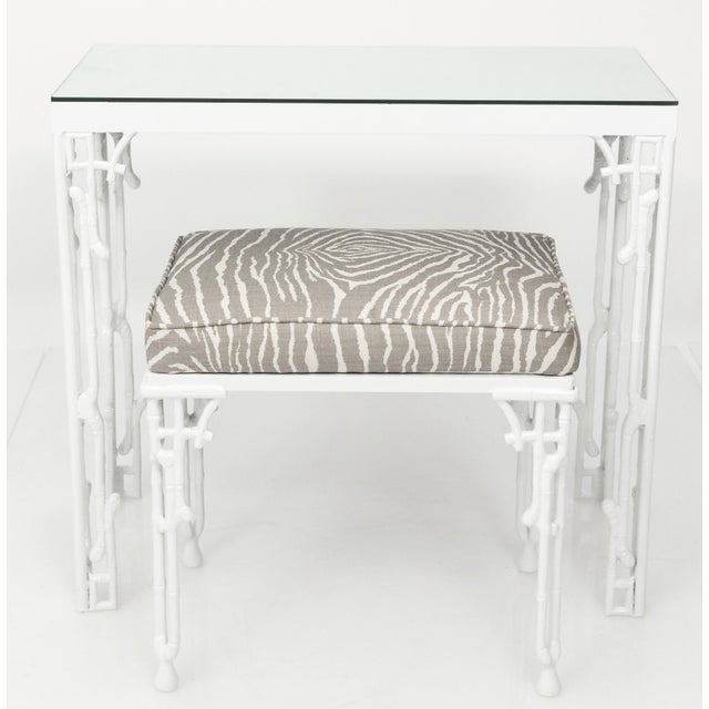 Chinoiserie White Metal Bamboo Style Console and Bench For Sale - Image 12 of 12
