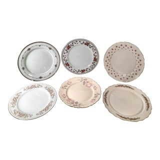 MisMatched China Dinner Plates - Set of 6 For Sale