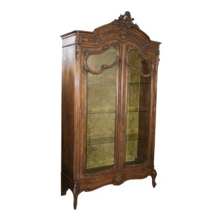 Antique Wooden Armoire Vitrine For Sale
