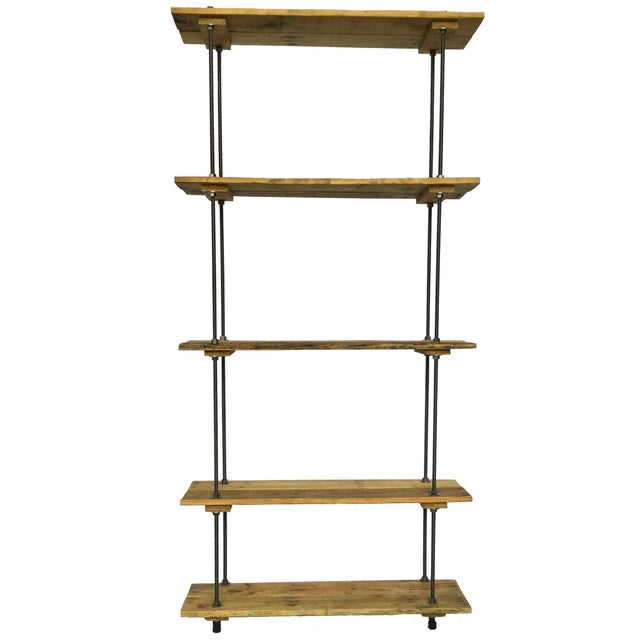 Industrial Tall Recycled Wood and Metal Rod Adjustable Bookcase Shelf For Sale - Image 12 of 12