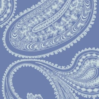 Cole & Son Rajapur Flock Wallpaper Roll - Blue/White For Sale