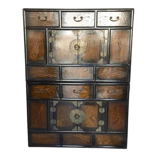 Vintage Korean Style Chests Tansu Stacking Style Storage Cabinets - a Pair