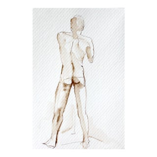"""Original Framed Brown Ink Figure Drawing """"Standing Male Nude Back"""" by Michelle Arnold Paine For Sale"""
