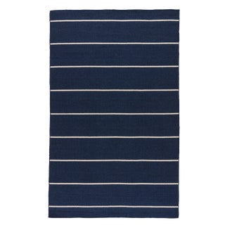 Jaipur Living Cape Cod Handmade Stripe Blue/ White Area Rug - 5′ × 8′ For Sale
