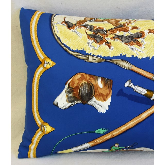 """Large custom-tailored pillow created from a 100% silk Hermès scarf titled """"Le Laissed Courree"""" by Jean De Fougerolle..."""