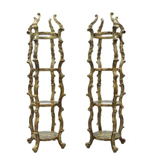 Gold Hollywood Regency Syroco French Rococo Etagere-A Pair For Sale