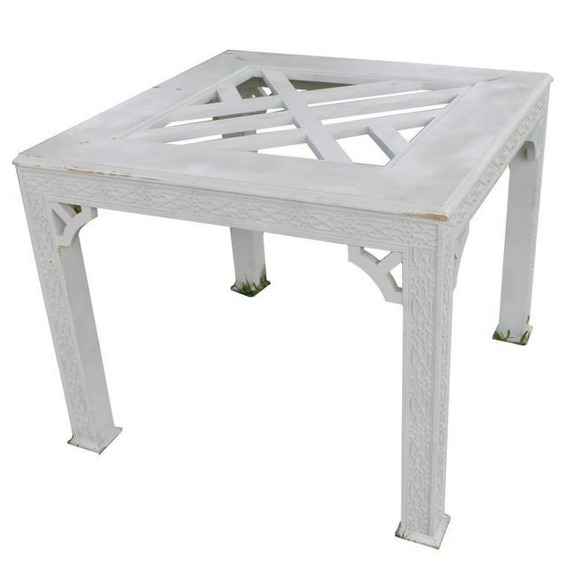Chinese Chippendale Fret Work Game Table Dining - Image 7 of 7