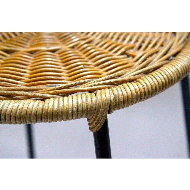 Wicker & Metal Bar Stools, Arthur Umanoff Style - A Pair For Sale In Sacramento - Image 6 of 9