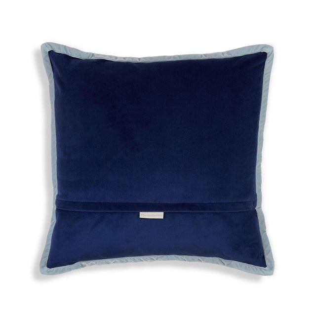 Gothic Skulls Damask Pillow, Navy Blue For Sale - Image 3 of 5
