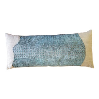 Transitional Faux Crocodile Lumbar Pillow For Sale