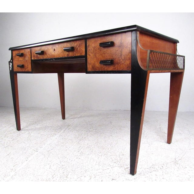 This Exquisite Vintage Modern Desk Features Burl Wood Fronts Black Lacquered Trim And A Hollywood Regency Style Writing