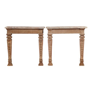 18th Century French Louis XIV Carved Oak Wall Consoles With Marble Top - a Pair For Sale