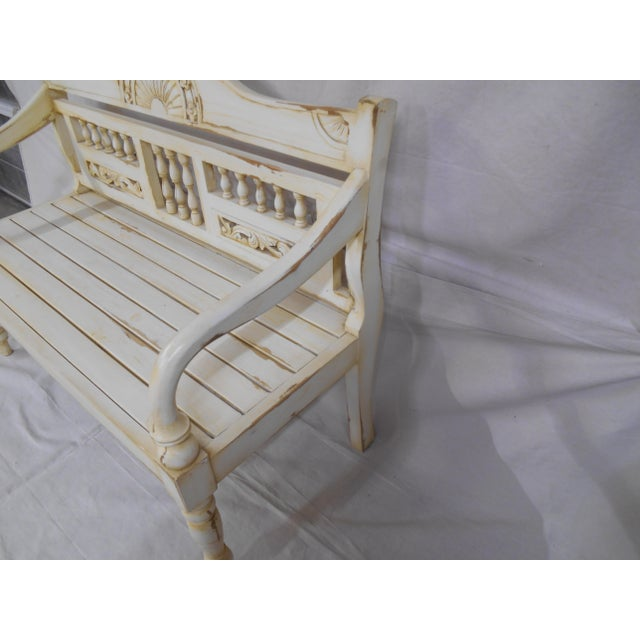 Late 20th Century Painted and Distressed French Country Garden Bench For Sale - Image 4 of 13
