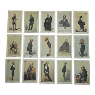 Antique 19th Century Vanity Fair Lithographs & Descriptions-England-Folio Size-Set of 15 For Sale