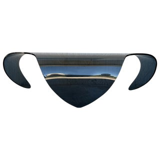 Mid-Century Modern Sculptural Curved Blue Glass Table For Sale