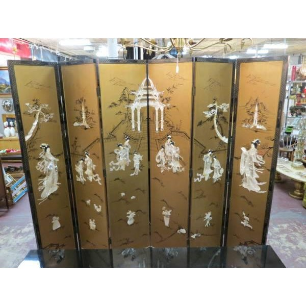 Vintage Chinese Gold Painted Wood and Mother of Pearl 6-Panel Screen, 1950s For Sale - Image 12 of 12