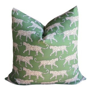 Chinoiserie Green Walking Leopard Pillow Cover For Sale