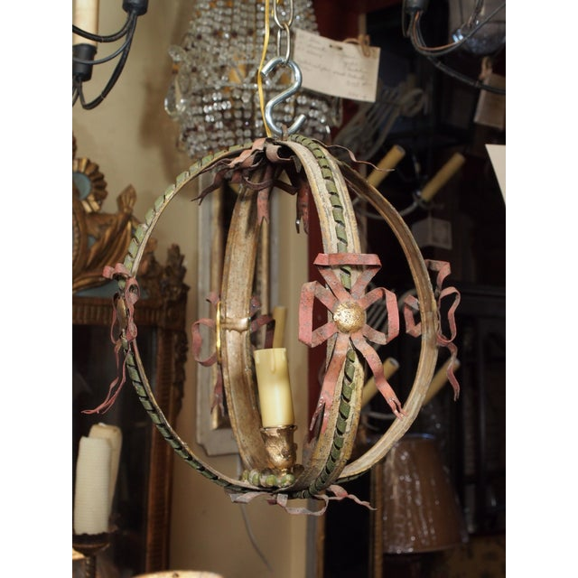 Metal Small Italian Tole Chandelier For Sale - Image 7 of 7