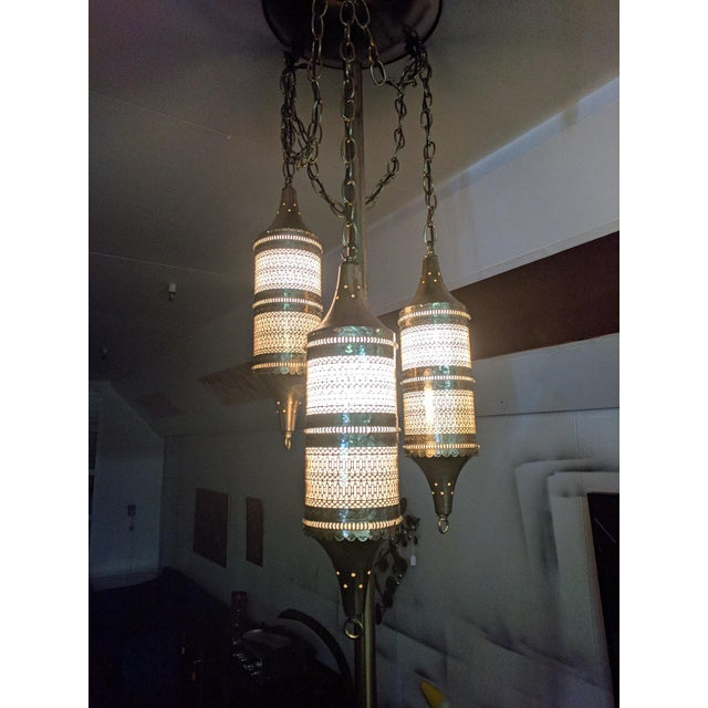 Mid Century Tension Pole Swag Lamp With 3 Brass Moroccan Style Fixtures For Sale In Los Angeles - Image 6 of 8
