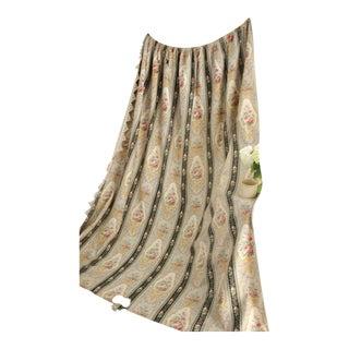 Antique 1880 Belle Epoque Fabric French Floral Striped Drip Trim Drape For Sale