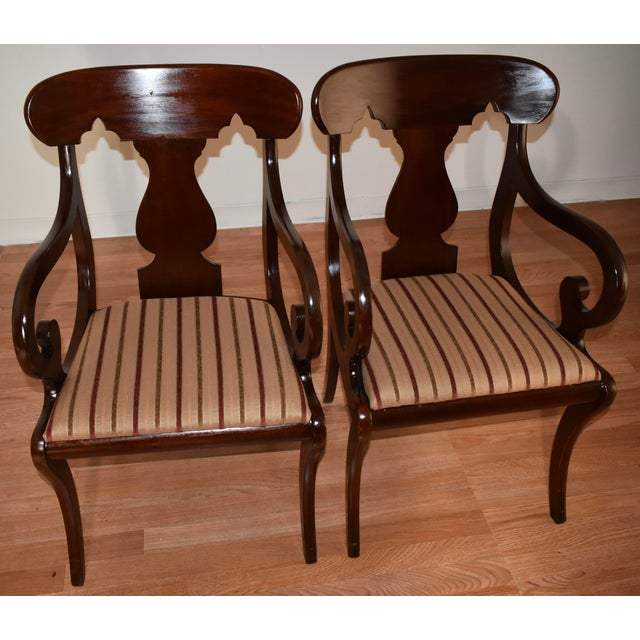 Empire 19th Century Antique Empire Solid Mahogany Dining Room Chairs- 6 Pieces For Sale - Image 3 of 13