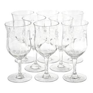 Antique Crystal Thistle Stemmed Goblets - Set of 8