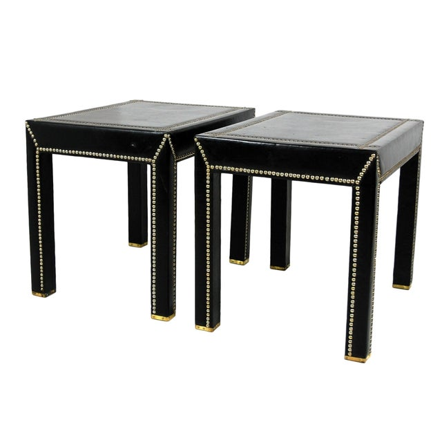 Vintage Mid-Century Italian Leather Studded Side Tables - A Pair For Sale - Image 9 of 9