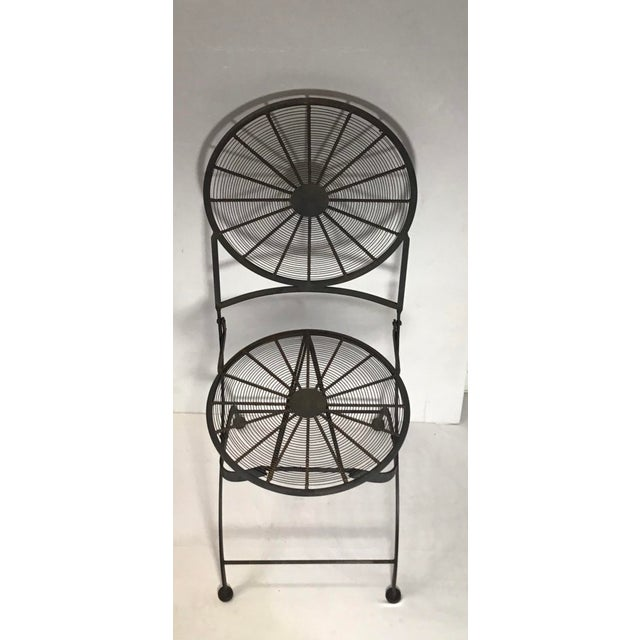 1960s Vintage Wrought Iron Pinwheel Bistro Style Folding Chair- Set of 4 For Sale - Image 10 of 13