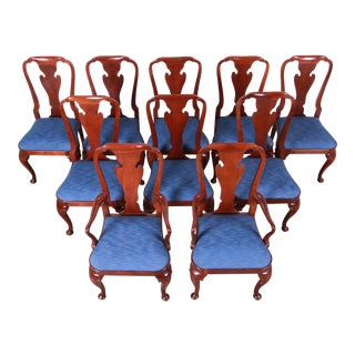 Baker Furniture Historic Charleston Queen Anne Carved Mahogany Dining Chairs, Set of Ten For Sale