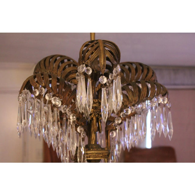 French Art Deco Hollywood Regency Solid Bronze Crystal Chandelier 1920 S For