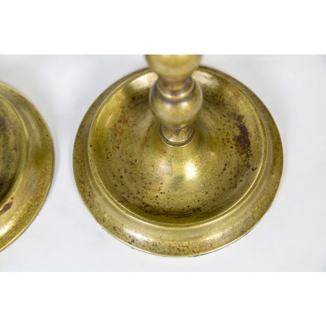 1910s Early 20th C. American Colonial Brass Candlestick Lamps - a Pair For Sale - Image 5 of 9