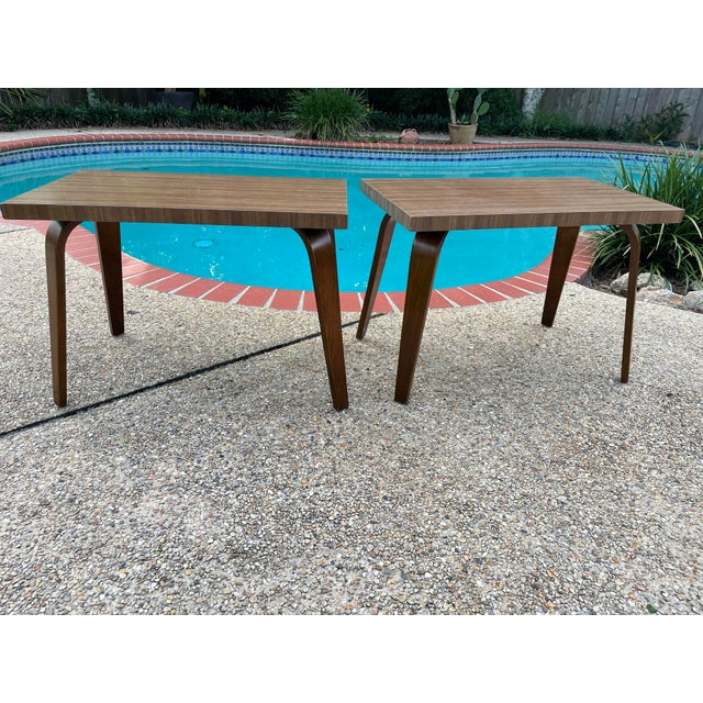 Mid-Century Modern Thonet Mid Century Walnut End Tables - a Pair For Sale - Image 3 of 11