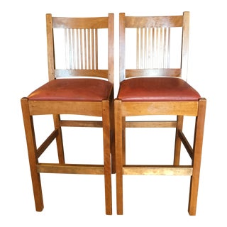 Vintage Stickley Bar Stools- A Pair For Sale