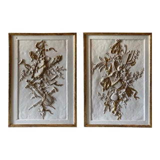 Vintage Louis XV Style White & Gold Floral & Musical Panels - a Pair For Sale