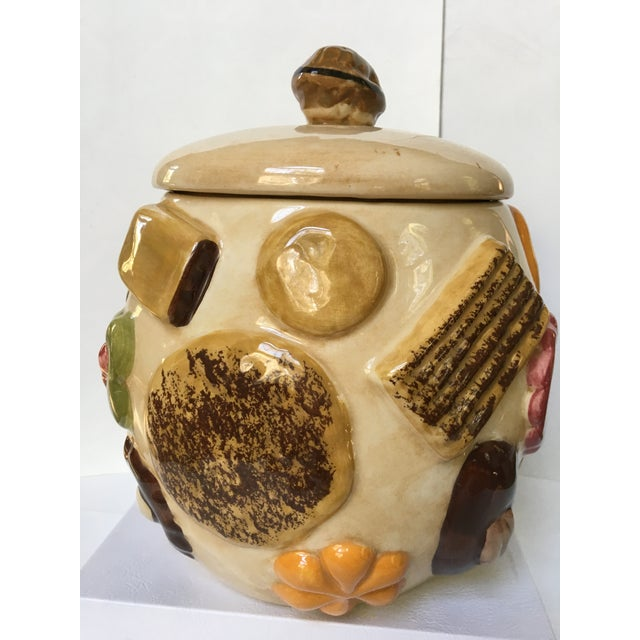 "20th Century Cottage ""Cookies All Over"" Hand Painted Cookie Jar For Sale - Image 4 of 12"
