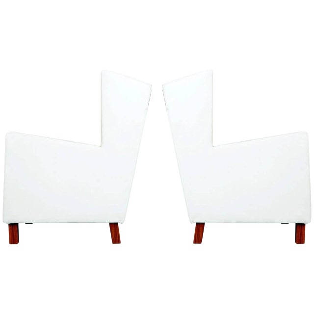 1960s Jacaranda and White Leather Wingback Armchairs, Brazil - a Pair For Sale