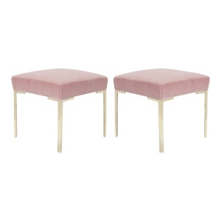 Astor Petite Brass Ottomans in Blush Mohair by Montage - Pair For Sale