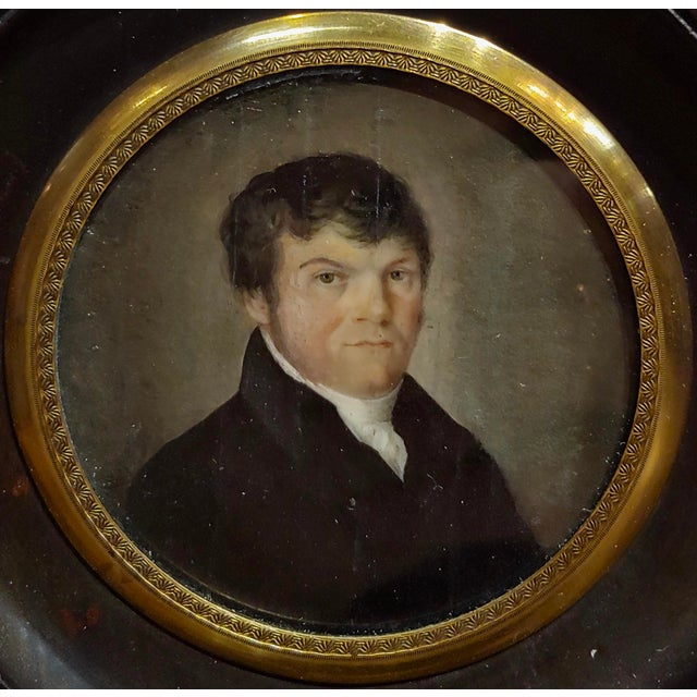 18th Century English School Husband & Wife Portraits Miniature Paintings - a Pair For Sale In Los Angeles - Image 6 of 10