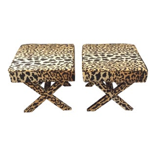 Hollywood Regency Leopard Print Upholstered X-Benches - a Pair For Sale