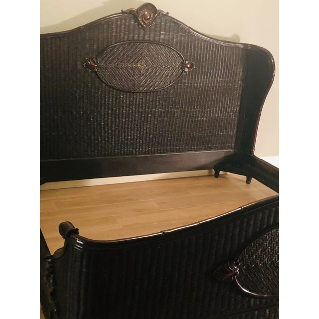 Country Ralph Lauren King-Sized Wicker and Wood Bedframe For Sale - Image 11 of 13