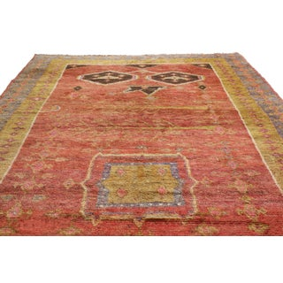 19th Century Traditional Khotan Geometric Red and Golden Yellow Wool Rug Preview