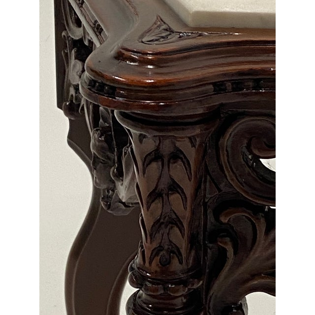 Carved Mahogany Side Table With Marble Top For Sale - Image 4 of 9