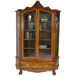 Antique Wooden Display Cabinet With Dutch Marquetry