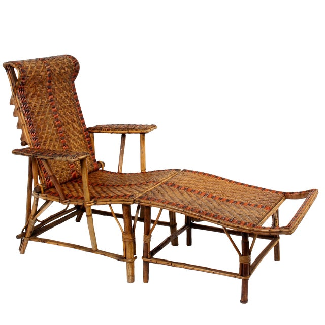 Vintage french bamboo rattan chaise lounge chairish for 1930s chaise lounge