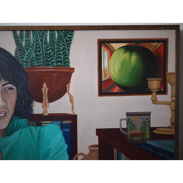 Original 1984 Arona Reiner Mid-Century Modern Postmodern Female Portrait Oil on Canvas Painting For Sale - Image 4 of 6