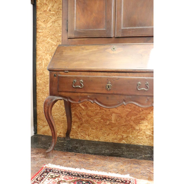 18th Century Italian Antique Louis XV Walnut Carved Trumeau, Secretaire For Sale - Image 11 of 12