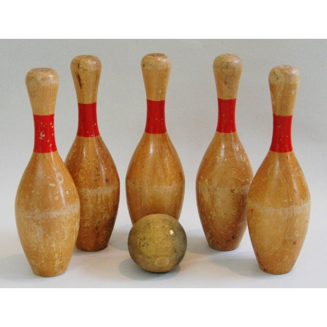 Vintage Child's Bowling Pins & Ball - Set of 6 - Image 4 of 8